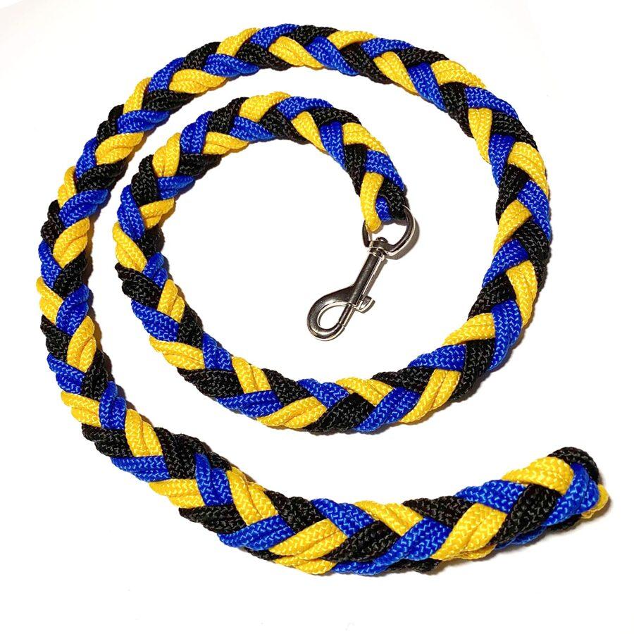 UGA pītā pavada, melns-dzeltens-zils (1:1:1)